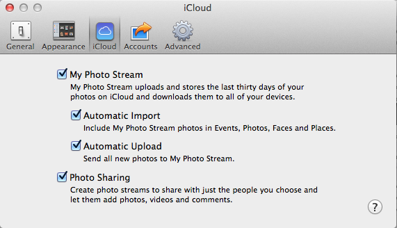 iPhoto Cloud Settings