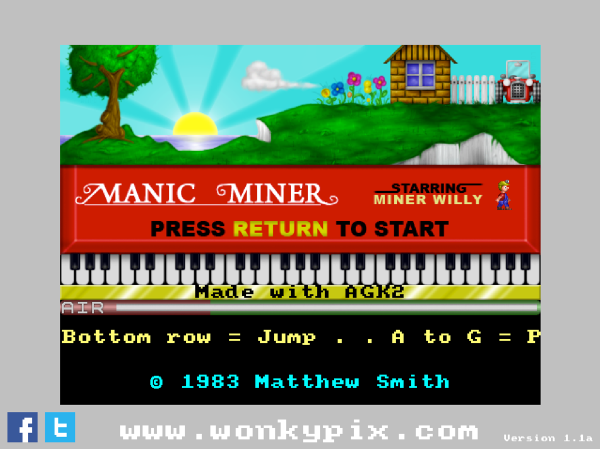 Manic Miner Version 1.1a Screenshot